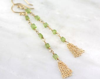 Shoulder Duster Peridot and Gold Chain Tassel Earrings