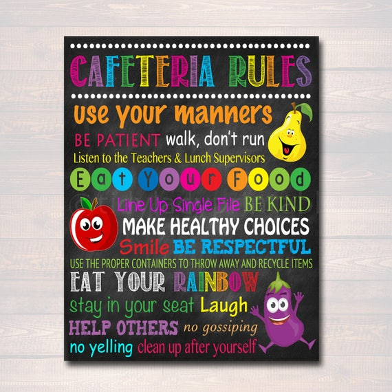 School cafeteria rules poster printable instant download for Free travel posters for teachers