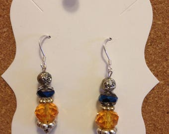 925 Ear Wire Rose & Crystal