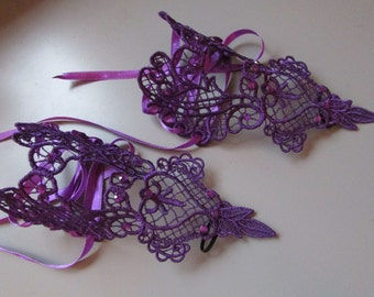 Handmade Embroidered Purple Lace Cuffs with Diamantes  Goth/Steampunk/Burlesque