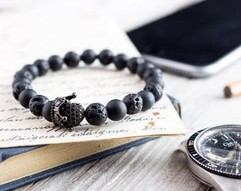 8mm - The Black King II - Matte black onyx & lava stone beaded stretchy bracelet with black micro pave crown, mens bead bracelet, black