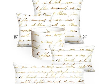Pillow Cover - Pillow - Bronze French Script - Square or Rectangular - 12x18 12x20 14x20 14x26 16x24 16x26 16x 18x 20x 22x 24x 26x 28x