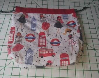 Small drawstring knitting project bag