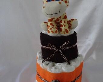 Diaper cake with its giraffe jungle themed