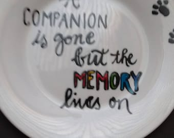 Hand painted pet loss memorial side plate