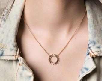 Baguette Diamond Necklace, Sunburst Baguette, 14k Gold Baguette and Round Cut Diamond Necklace, Anniversary Gift, Gift for her