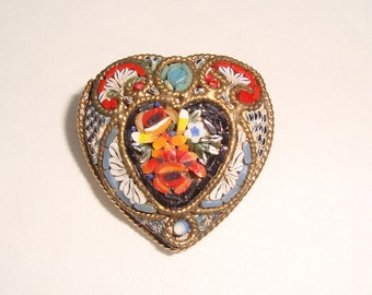 Vintage Mosaic Heart Pin Brooch Signed FAB Italy Valentines Day