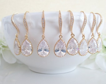 Bridesmaids Earrings Set of 6,Gold Bridesmaid Earrings,Six Bridesmaid Earrings,Cubic Zirconia Earrings,DISCOUNT,Clear Teardrop CZ,Teardrop