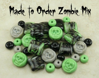 Made To Order Zombie Theme Lampwork Beads  - Undead Zombie Apocalypse - SRA Handmade Lampwork - I ship Internationally