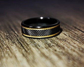 Personalized Engraved Black Titanium Wedding Ring Diamond Pattern Center Gold Plated Milgrain Grooves - 8mm Wide - Lifetime Sizing Warranty