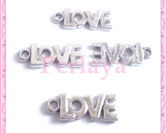 Set of 15 silver tag charms LOVE REF014X3 22mm