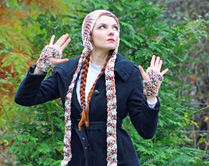 Earthy Brown Long Ear Flap  Hat Scarf Glove Set Great Gift for Children Teens or Adults Men and Women