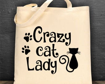Crazy Cat Lady bag/ book bag/ tote bag/ reusable bag/ library bag/ canvas bag