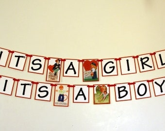 Vintage  Valentine Baby Announcement Baby Shower Banner Bunting