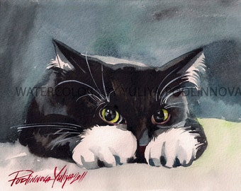 Tuxedo Cat Digital Print of Watercolor Painting Instant Download Art Cat Wall Decor Black and White Cat Image Picture Artwork Home Decor