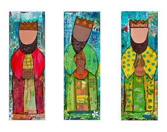 Three Wise Men 10x30 Individual Giclee on Masonite Hardboard by Elizabeth Claire