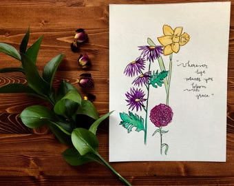 Bloom with grace - Original Watercolor painting