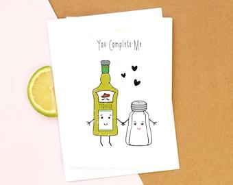 Tequila Card, Birthday Card, Funny Card, Tequila, Anniversary Card, Boyfriend Card, Girlfriend Card, Valentines Day Card, Love, Illustration