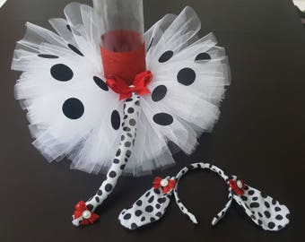 Dalmatian Tutu, headband/ears, and tail costume for infants, toddlers, girls, Halloween costume, birthday tutu set