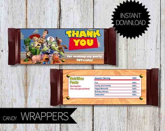 Toy Story Birthday Party PRINTABLE Candy Wrappers- Instant Download | Disney Toy Story| Andy's Room| Chocolate Wrapper
