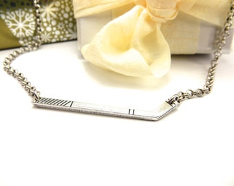 Hockey Stick Necklace Sterling Silver Ox Finish Hockey Lover Gifts