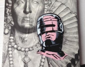 "ROBOCOP -- collage, stencil, spray paint (Original Painting #5) -- 8"" x 10"""