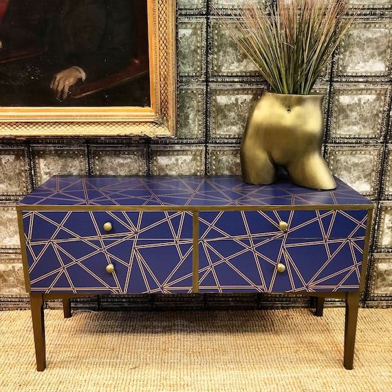 Bronze and blue geometric sideboard