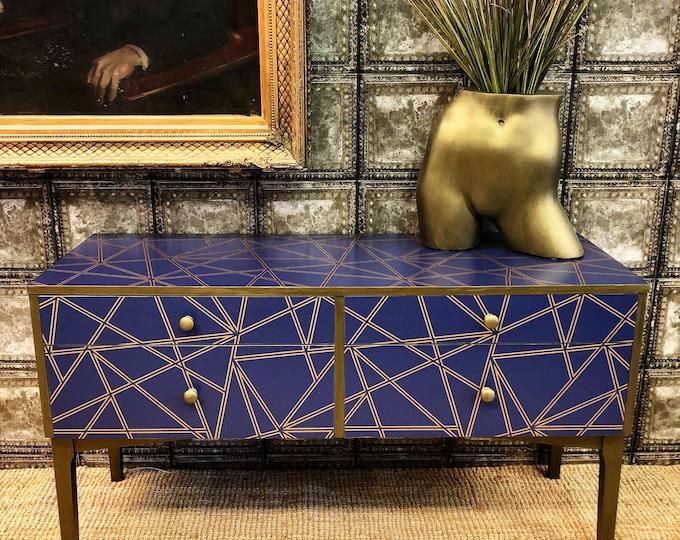 Bronze and blue geometric sideboard