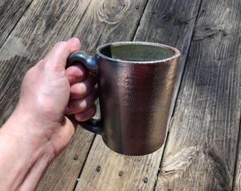 Salt Fired Full Handled Mug with White Interior