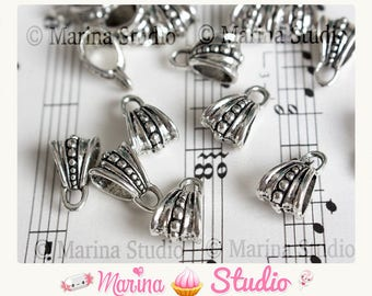 5 very detailed silver bails 15X9.5mm