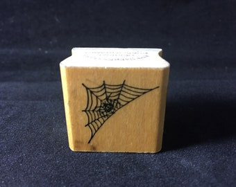 Spider in Web Halloween Rubber Stamp Used