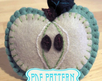 Sewing Pattern Apple PDF:  Instant Download, Felt Apple fridge magnet pattern, brooch