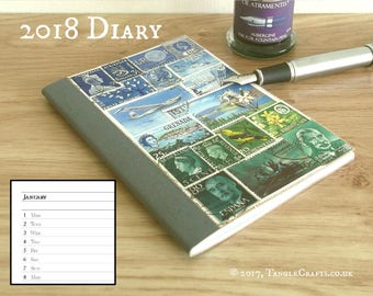 Purple Green Diary, 2018 Month Planner Notebook - Stamp Art Collage