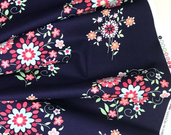 Free Spirit Fabrics - Love - Memento - Midnight by Amy Butler - Floral Navy Fabric - 100% Cotton - 15 Yards Available