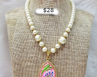 Handmade white beaded necklace with hand-painted pendant