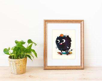 Skateboarding Monster with the Meow Art Print