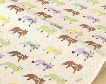 Japanese Fabric Kokka Animal World - chilly fox - natural, green - fat quarter