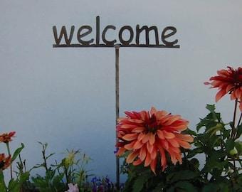 SHIP NOW - Welcome Garden stake -  Metal Garden Sign