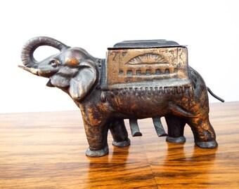 Vintage 1930s Cast Iron Elephant Cigarette Roller Tobacciana Midwest Novelty Co