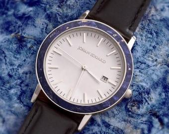 Blue Box Elder Burl Wood Wristwatch, Silver Metal With Black Leather Strap, Wooden Jewelry, Johan Eduard Watches