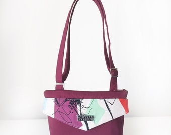 Cross Body Bag / Small Women's Handbag with Front Pocket, Adjustable Strap and Zip Closure in Burgundy