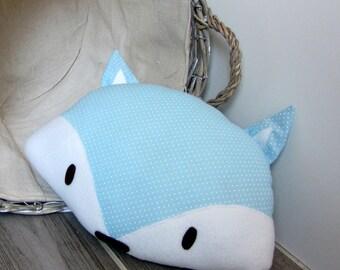 Fox pillow blue mini dots
