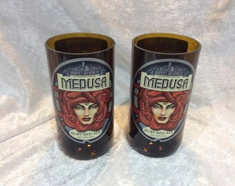 Medusa Ruby Red Ale Beer Glasses (Recycled Bottles) Set of 2