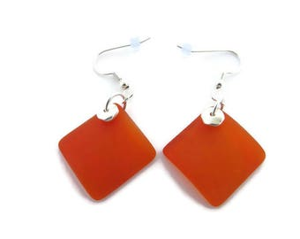 Orange Sea Glass Earrings, Large Orange Earrings, Orange Beach Glass Earrings, Orange Dangles, Tangerine Earrings, Cultured Sea Glass Dangle