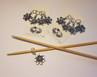 Knitting stitch markers, set of 4, FLOWERS