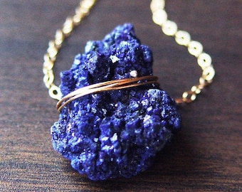 Azurite Crystal Gold Necklace