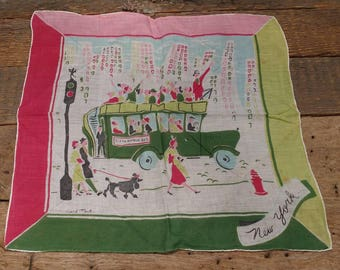 Vintage Carl Tait Handkerchief / Neck Scarf / New York City / Fifth Avenue Bus / Cityscape / Pink, Green, and Pale Blue / Gift  Idea / Retro