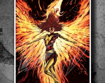 Dark Phoenix - Original Fan Art Color Print and Poster (unofficial) - WORLDWIDE FREE SHIPPING