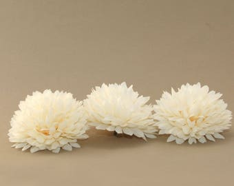 3 Ivory Ball Mums - Artificial Flowers, Silk Flower Heads