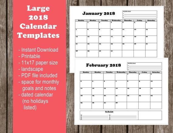 2018 Printable Calendar Large Pdf Instant Download 11x17